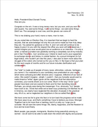 Letter to President-Elect Donald J. Trump, 111016, 1:2
