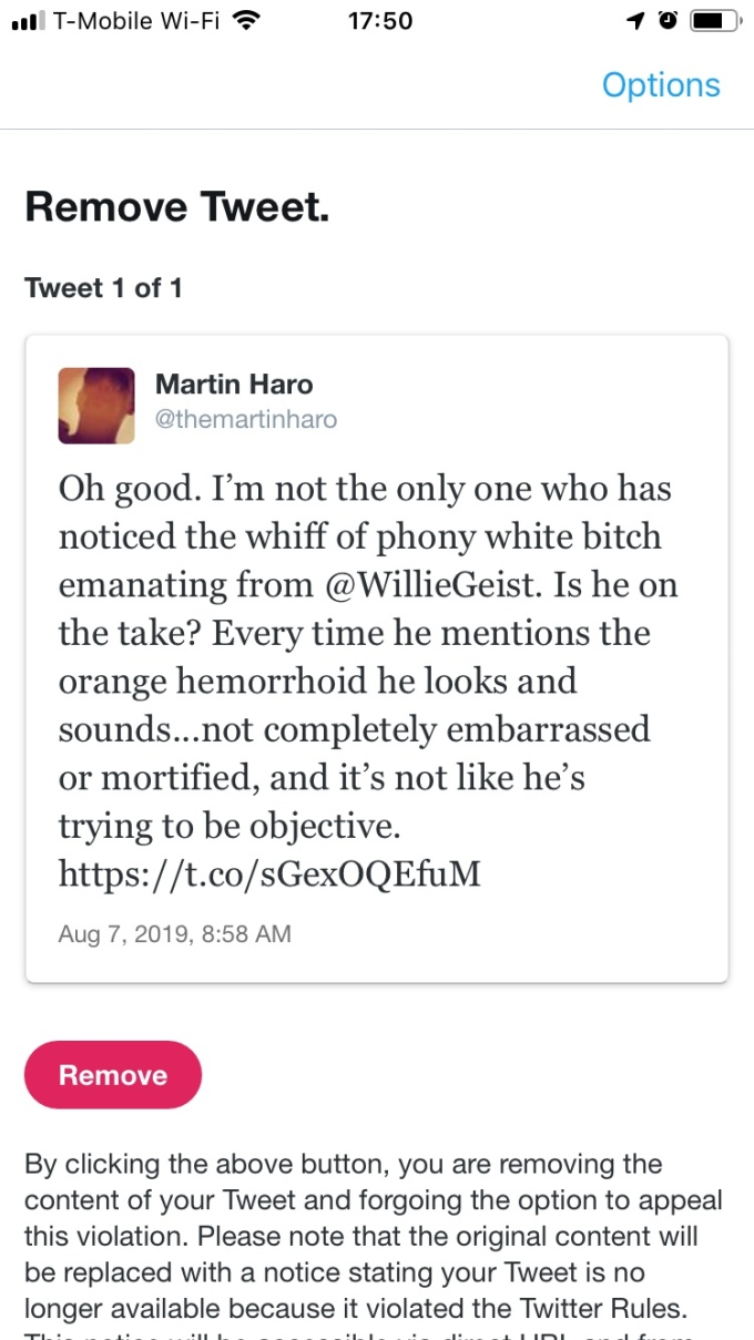 Suspended by Twitter, 8.14.19, @themartinharo/Twitter